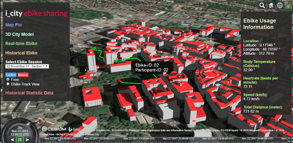 "The ""i_city ebike sharing"" application screenshot showing the simulation of a historical E-bike route by integration the following sensor data from user: SMART E-bike, Garmin Smart Watch, and temperature data from OpenWeatherMap."