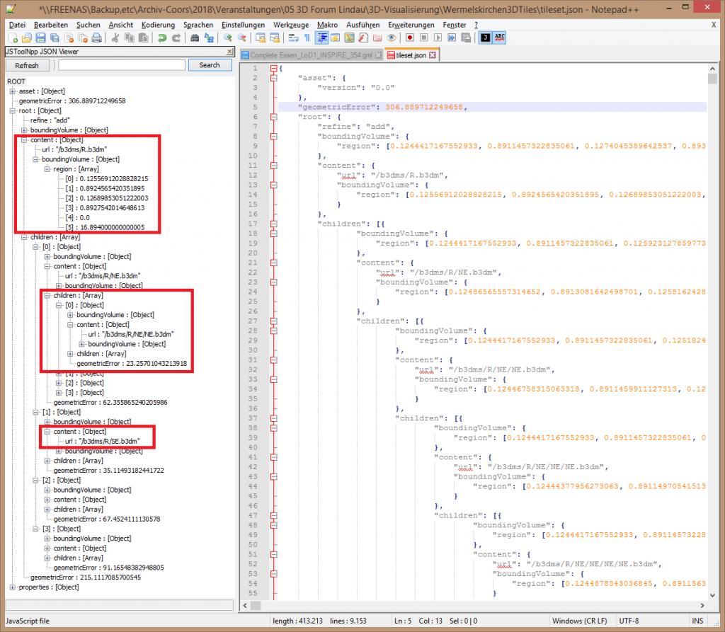 Die Datei tileset.json enthält den Szenengraph, der vom Cesium Viewer verwendet wird.